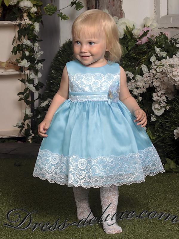 Бирюзовое платье для девочки на год